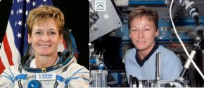 NASA Astronaut Peggy Whitson on Earth (left) and with noticeable puffiness in space (right). Credit: NASA