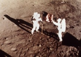 Neil Armstrong and Buzz Aldrin on the Moon Image